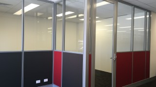 half glass office partitions with clear glass door in Perth