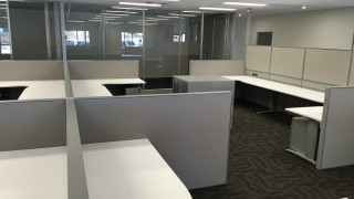 workstations, storage and glass full height office partitions