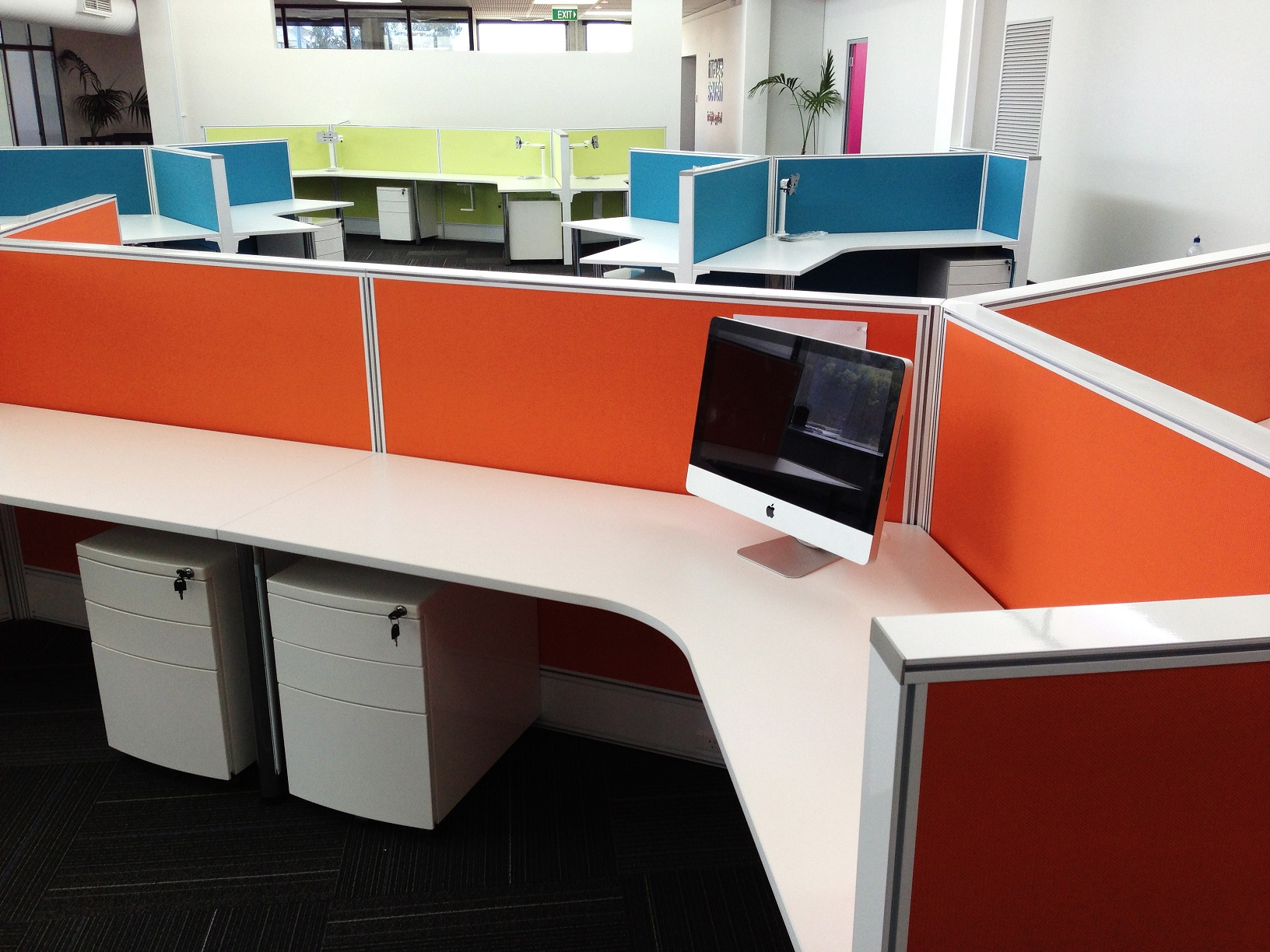Bright coloured y shaped work stations in Perth