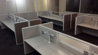 workstations with monitor stands and custom colour in Perth